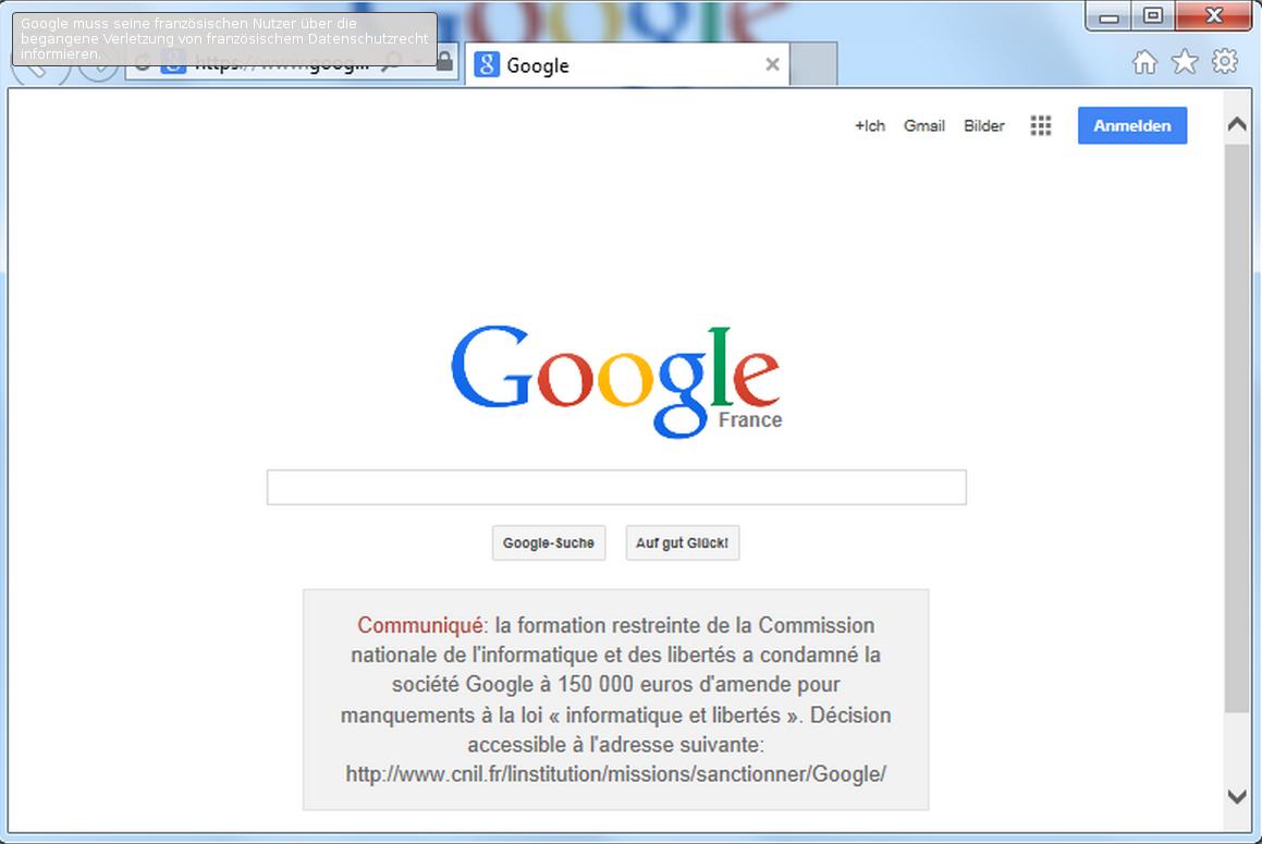 Banner auf Googles Webseite