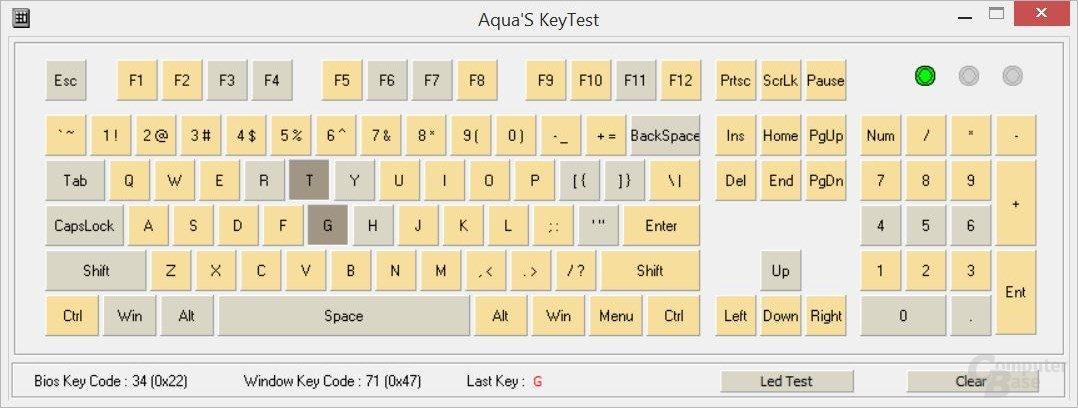 """Die LK1 erreicht nicht wie angekündigt 6-, sondern nur 2-Key-Rollover (""""KRO"""", Anzahl gleichzeitig zu drückender Tasten)"""