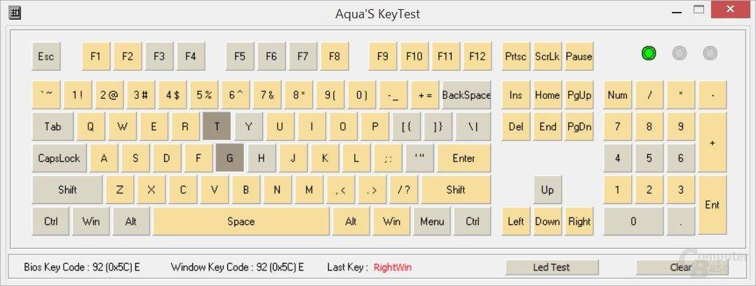 """2-Key-Rollover (""""KRO"""", Anzahl gleichzeitig zu drückender Tasten)"""