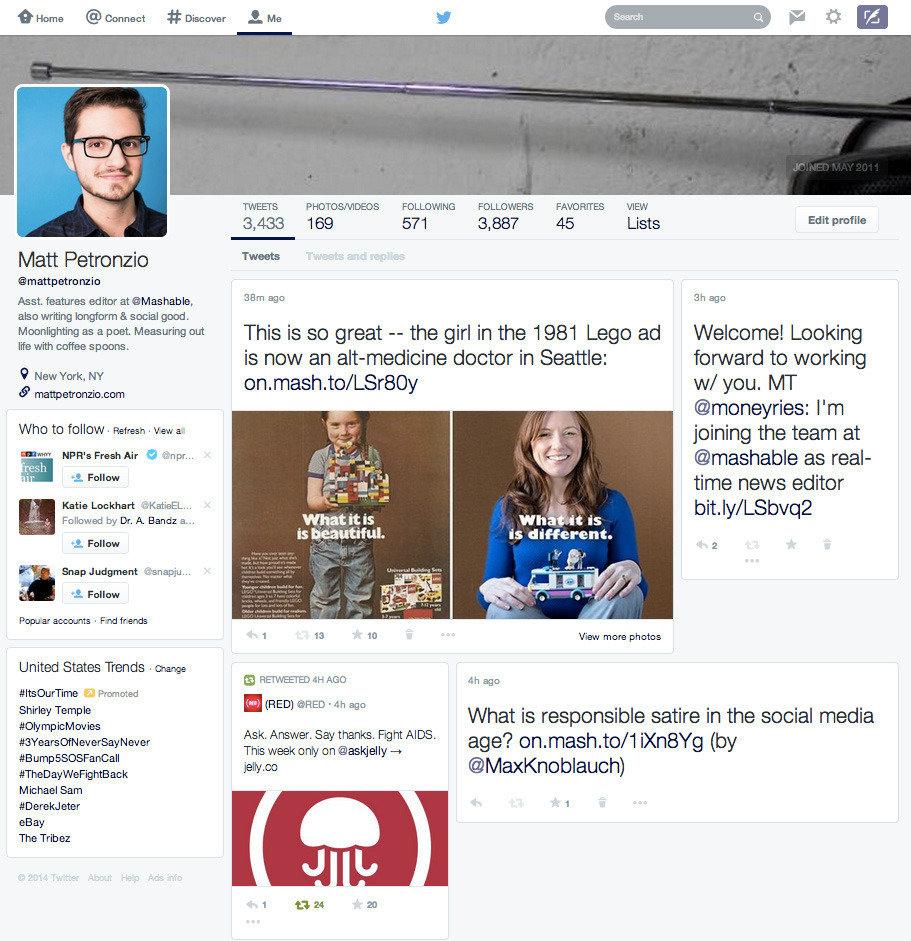 Neues Profildesign von Twitter
