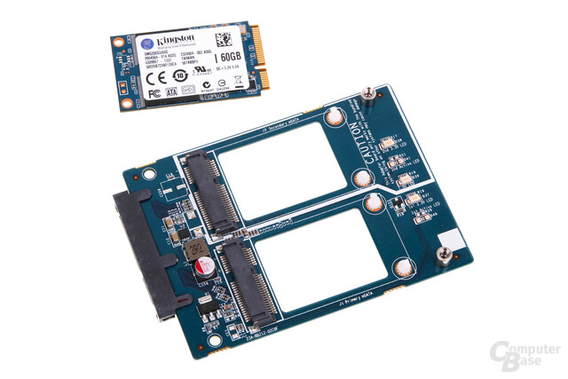nanoRAID storage adapter mit mSATA-SSD