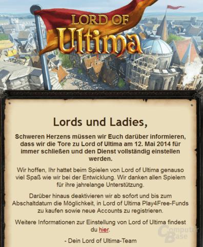 E-Mail an Spieler informiert über Abschaltung von Lord of Ultima