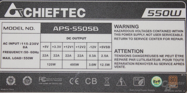 Chieftec New A-135 550 Watt: Typenschild