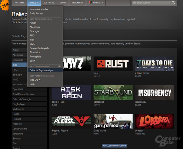 Spiele erhalten Tags im Steam-Shop