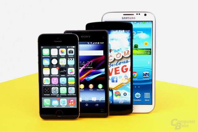 Apple iPhone 5S, Sony Xperia Z1 Compact, Google Nexus 5, Samsung Galaxy Note II