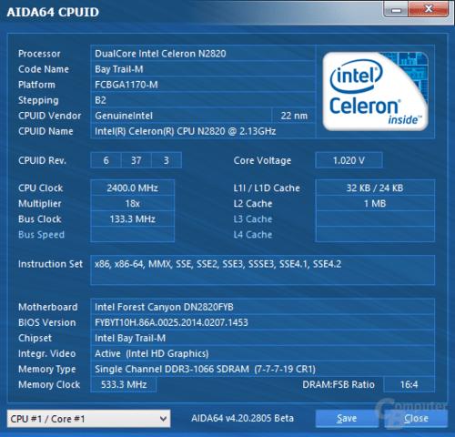 Intel Celeron N2820 mit DDR3L-1066
