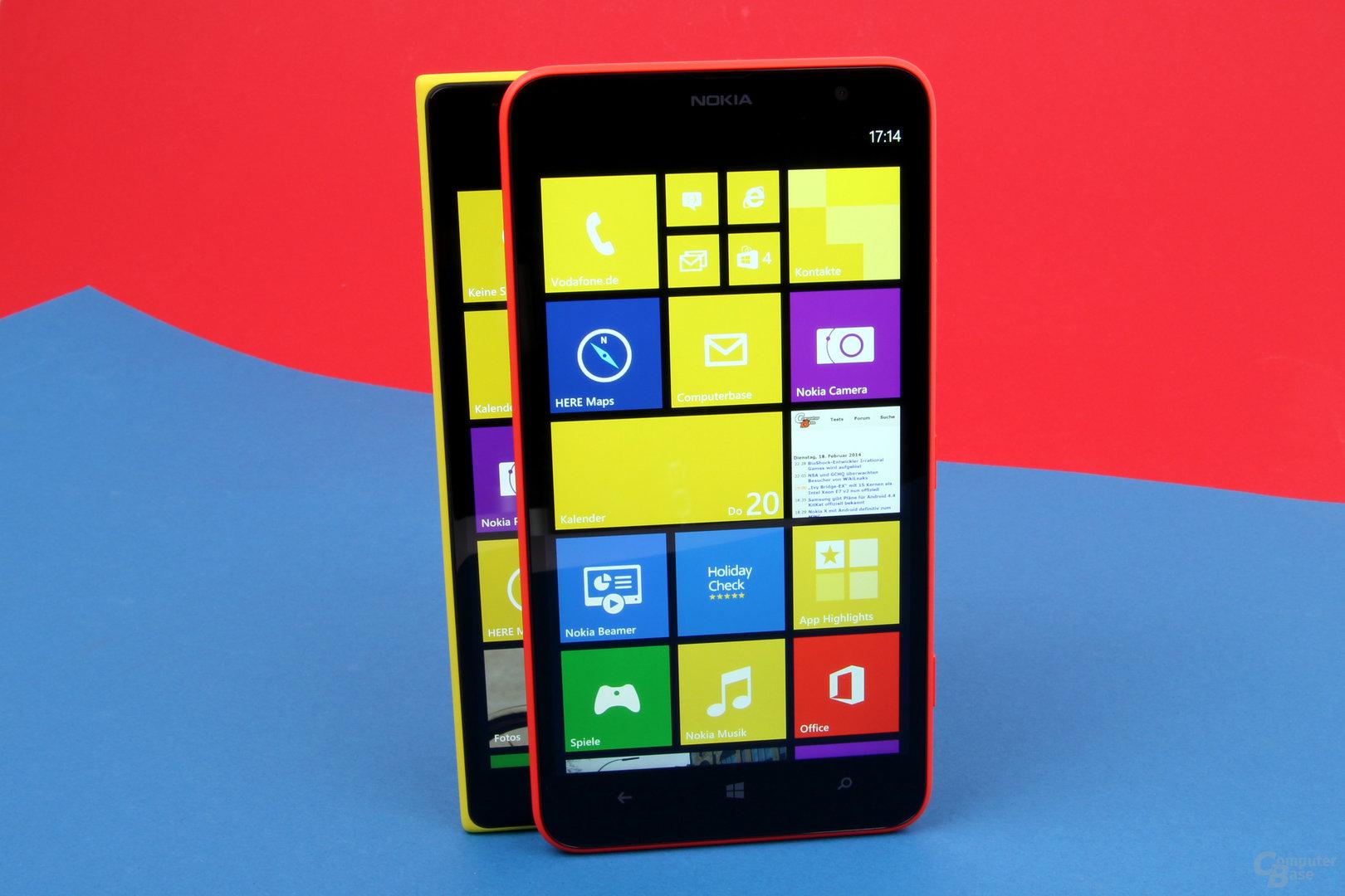 Sechs Zoll mal zwei: ähnlich gute Displays, das Lumia 1520 löst aber sichtbar höher auf