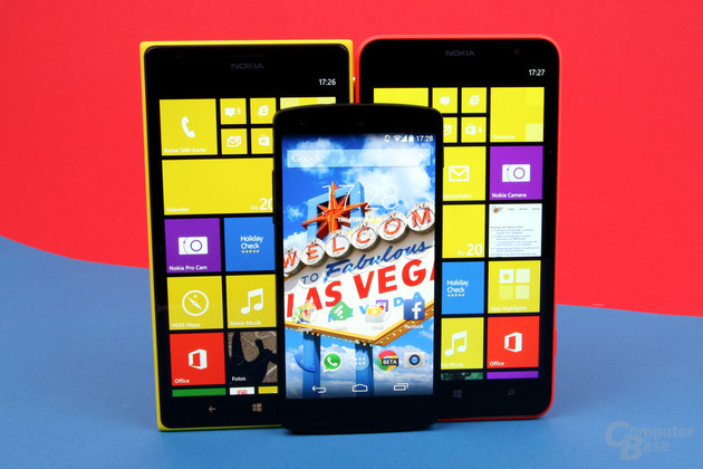 Nokia Lumia 1520 und Lumia 1320 im Größenvergleich mit Google Nexus 5