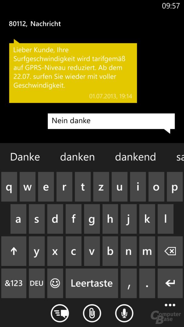 Messaging-App und Tastatur-Layout