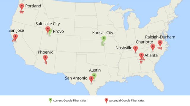 Aktuelle und potenzielle Standorte von Google Fiber