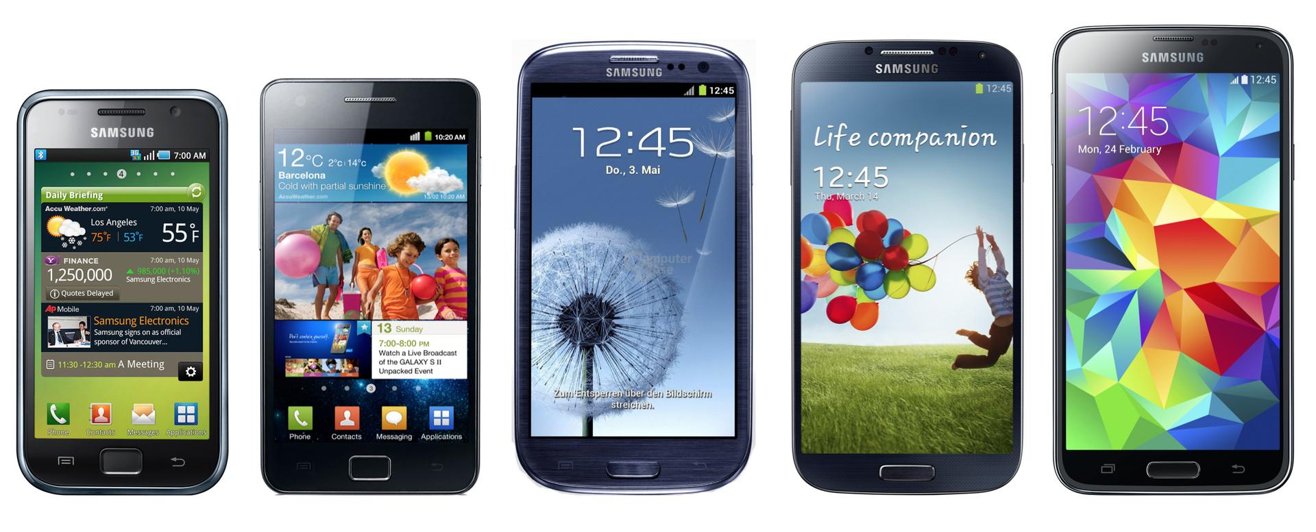 v.l.n.r.: Samsung Galaxy S bis Galaxy S5