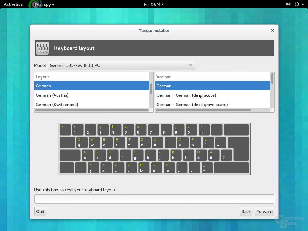 Keyboard-Auswahl