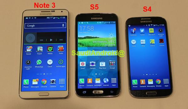 v.l.n.r.: Samsung Galaxy Note III, Galaxy S5, Galaxy S4
