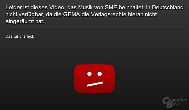 Typischer GEMA-Hinweis auf YouTube
