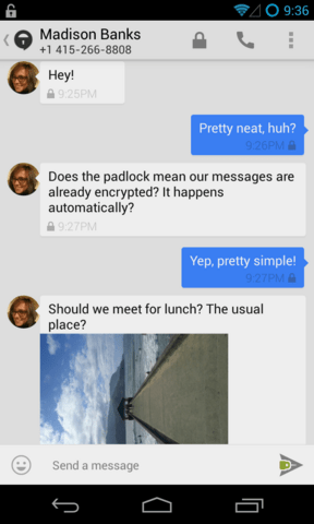 TextSecure v2: Konversationsfenster