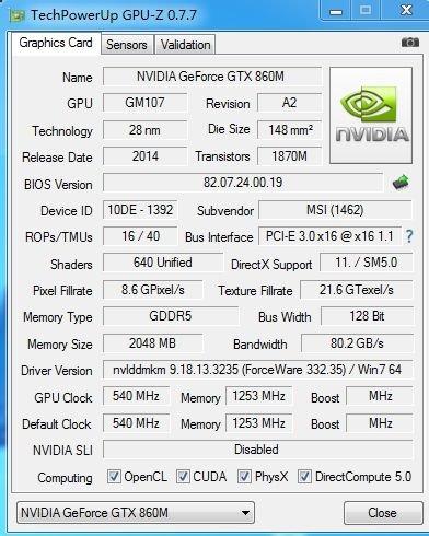 GPU-Z meldet GeForce GTX 860M mit Maxwell-Chip