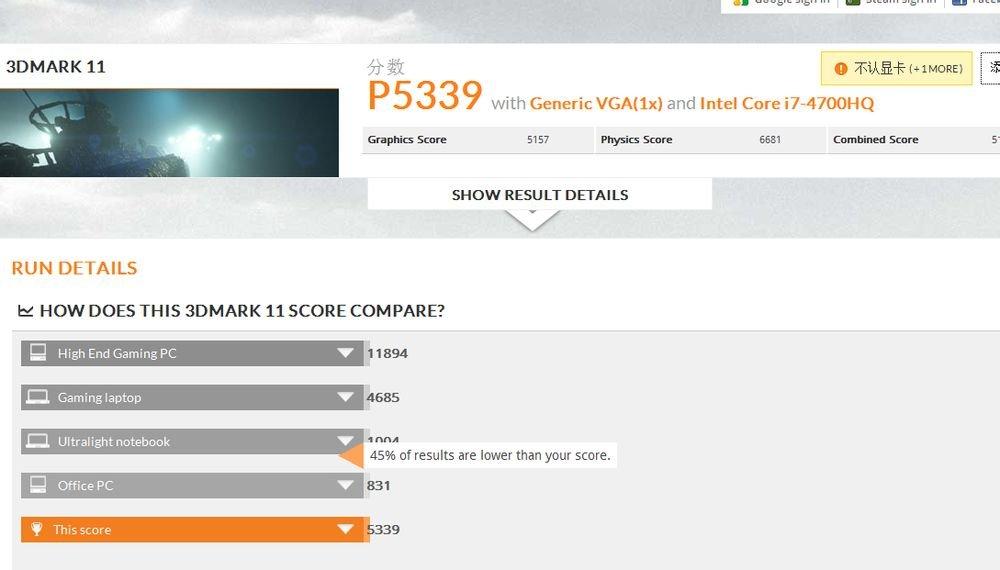 GeForce GTX 860M im 3DMark 11