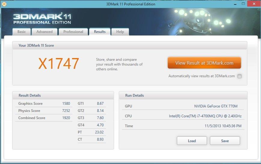 GeForce GTX 770M im 3DMark 11