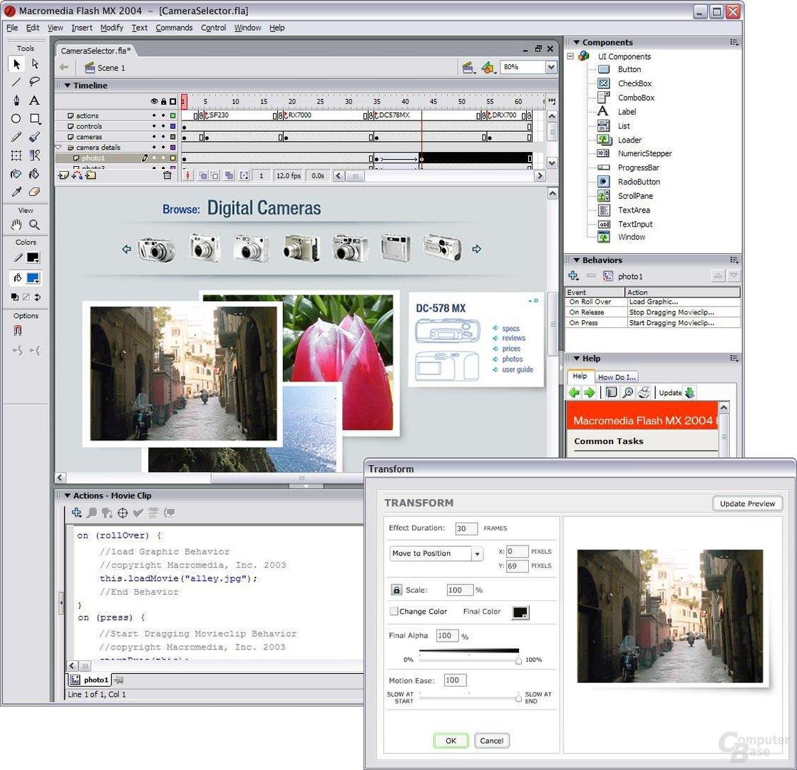 Flash MX 2004 Oberfläche