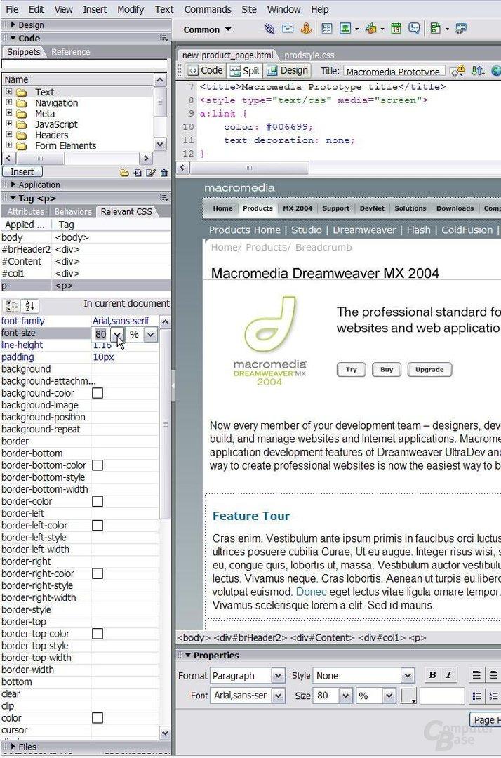 Dreamweaver MX 2004 CSS Funktionen