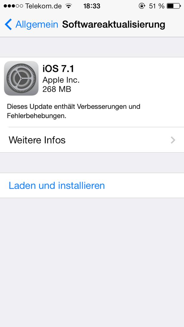 iOS 7.1 auf dem iPhone 5S