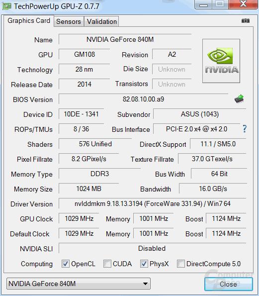 "GeForce GT 840M ""Maxwell"""