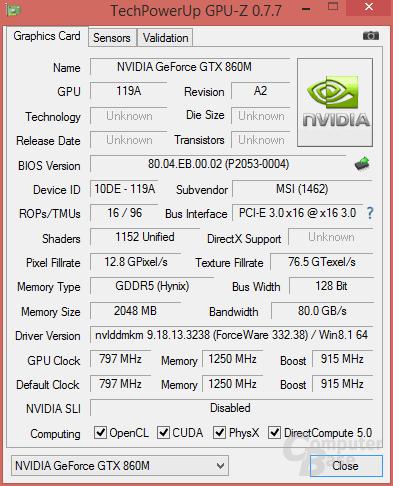 "GeForce GTX 860M ""Kepler"""