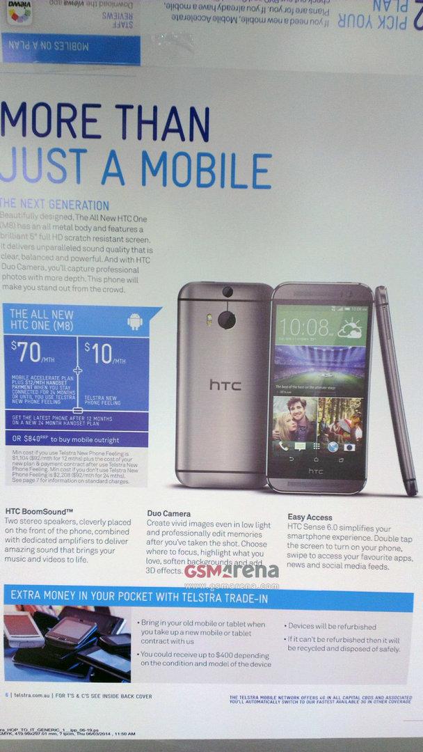 Telstra-Broschüre zum neuen HTC One (M8)