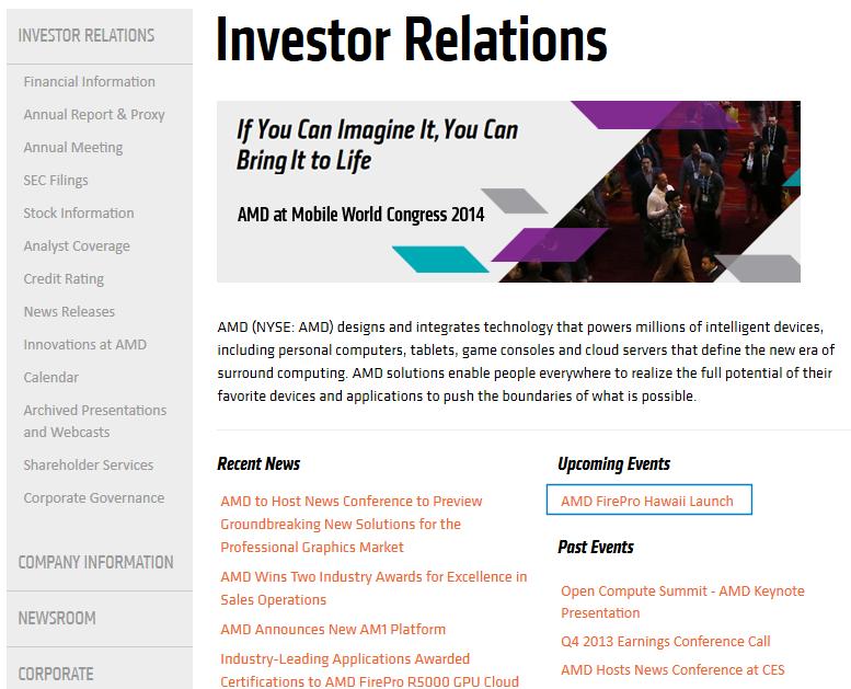 """AMD-Webseite nannte zwischenzeitlich """"FirePro Hawaii Launch"""""""