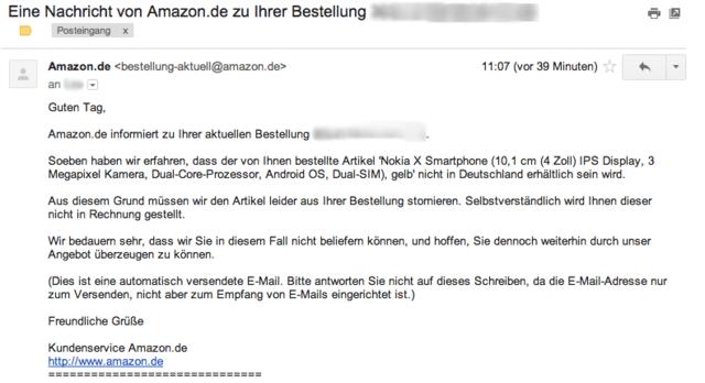 Benachrichtigung von Amazon