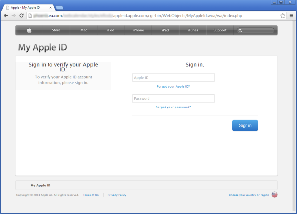 Gefälschte Apple-ID-Seite