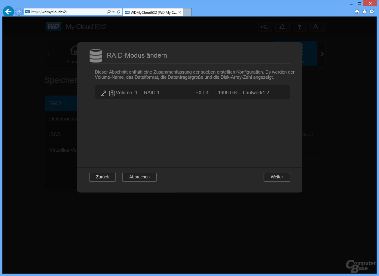 WD My Cloud EX2: Inbetriebnahme