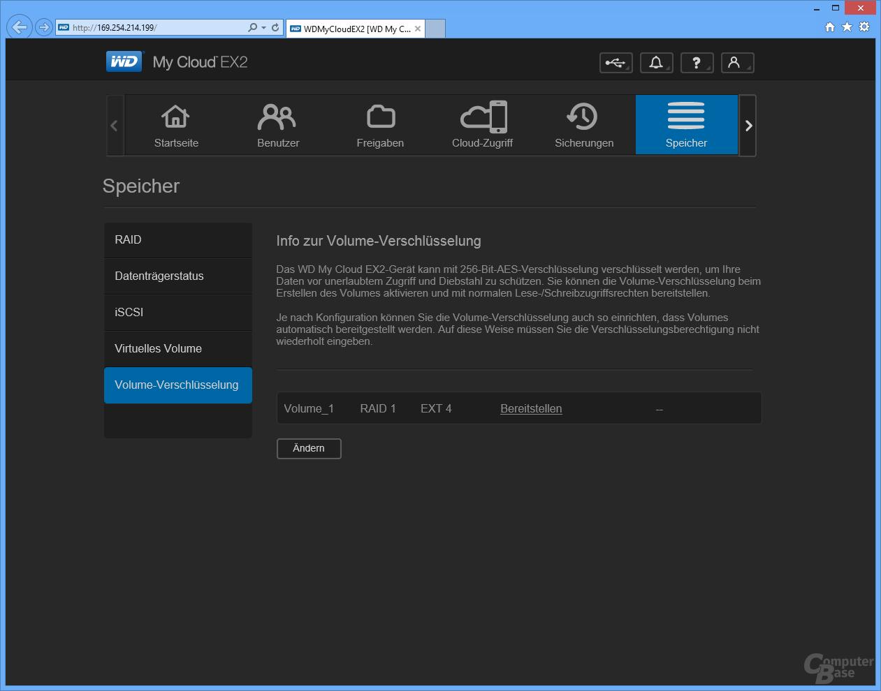 WD My Cloud EX2: Benutzeroberfläche