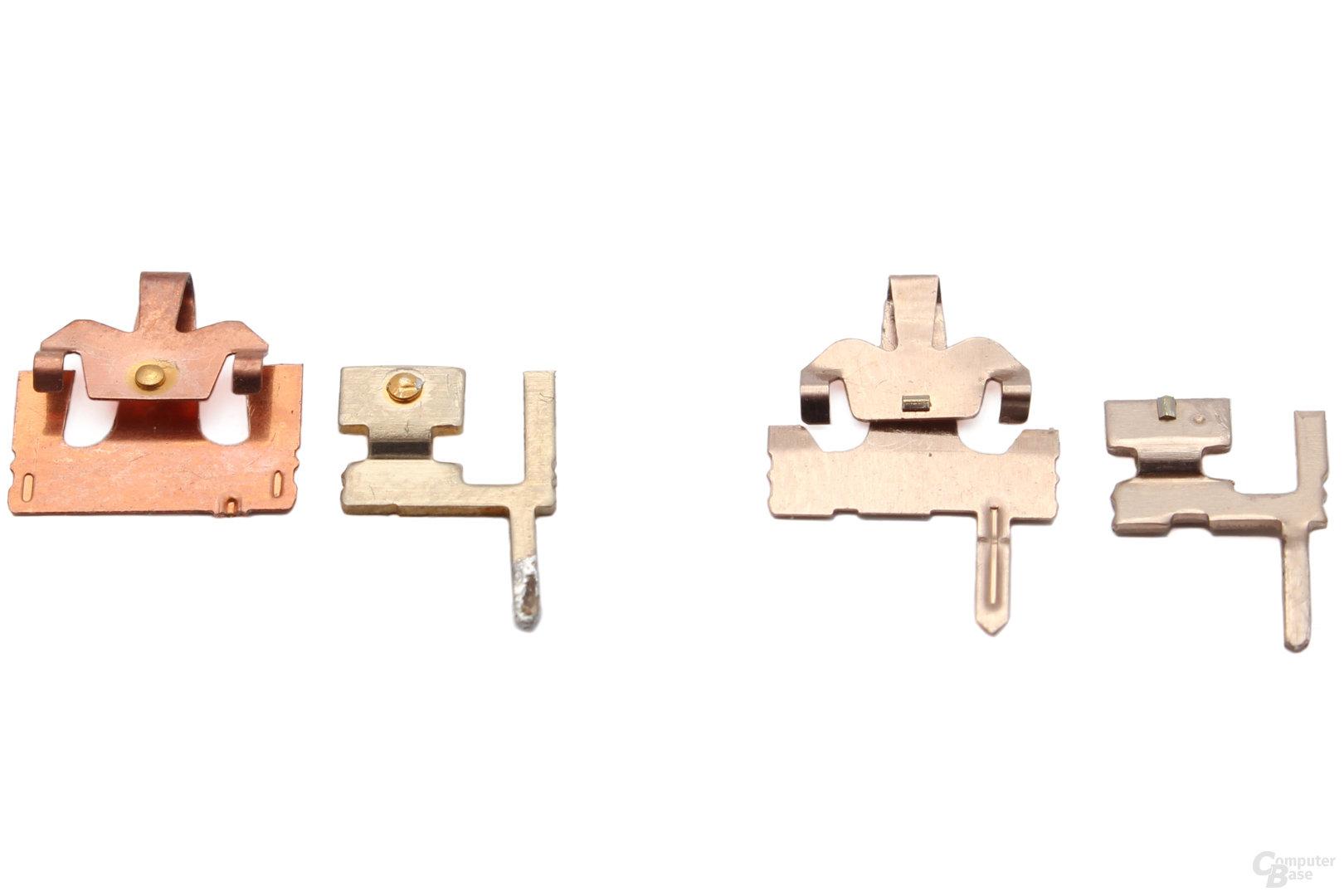 Razer-Kontakte (links) und Cherry-Kontakte (rechts)