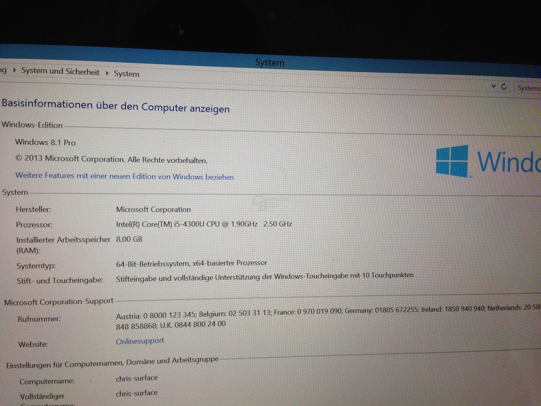 Surface Pro 2 mit Core i5-4300U