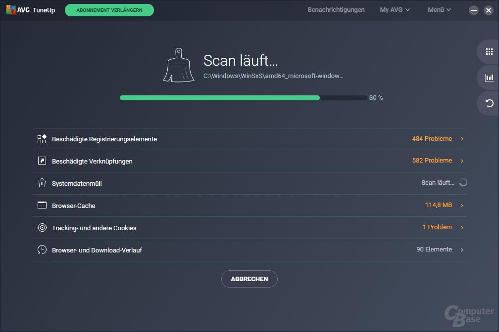 AVG TuneUp: erster Start – Scan