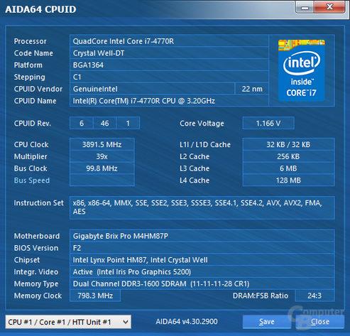 Intel Core i7-4770R mit Iris Pro 5200