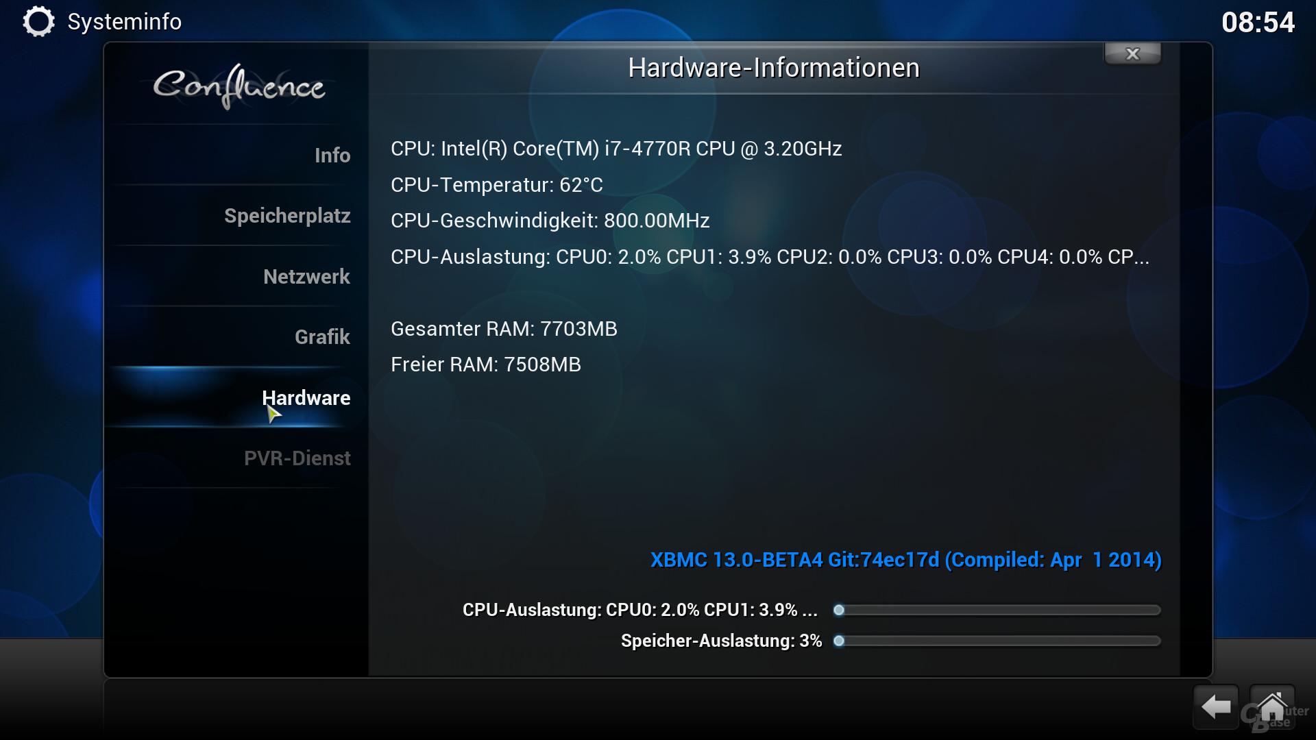 XBMC-Betrieb bei 20 Watt und 62 Grad CPU-Temperatur