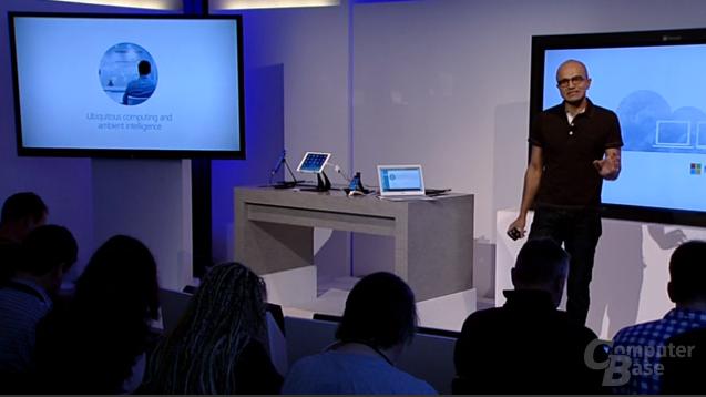 Microsoft CEO Satya Nadella auf der Pressekonferenz in San Francisco