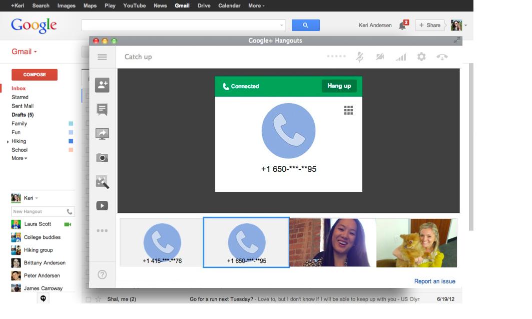9. Juli 2013: Gmail unterstützt Hangouts-Telefonie