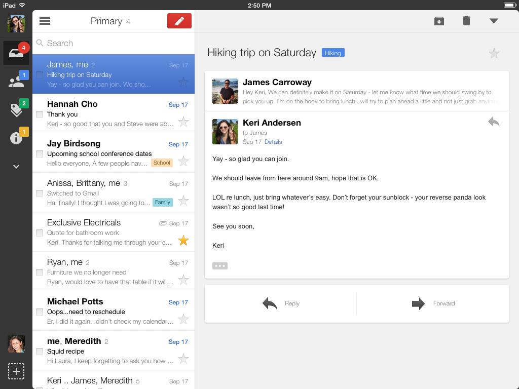 14. November 2013: Gmail für das iPad erscheint überarbeitet