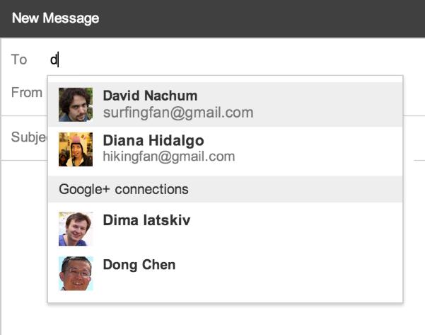 9. Januar 2014: Google+-Kontake werden als E-Mail-Empfänger vorgeschlagen