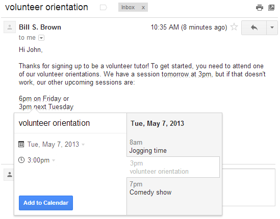2. Mai 2013: Ereignisse aus Gmail in Kalender übertragen