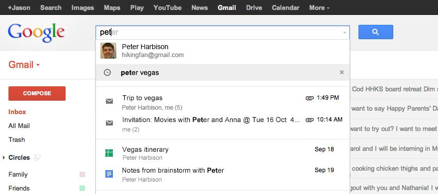 23. Mai 2013: Gmail-Suche mit Google Drive und Kalender