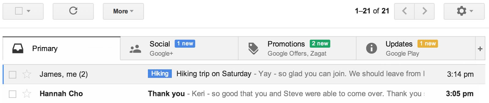 29. Mai 2013: Gmail erhält Tabs...