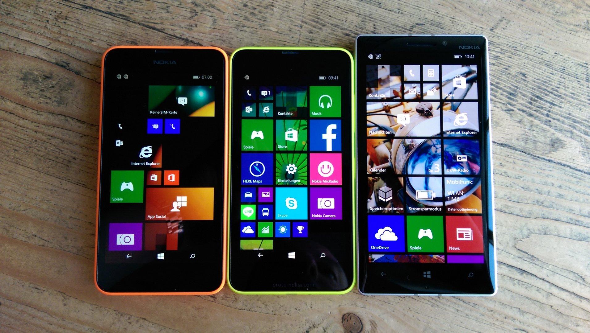 Lumia 630, Lumia 635 und Lumia 930