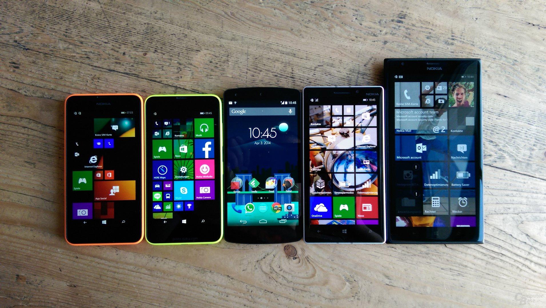 Lumia 630, Lumia 635, Nexus 5, Lumia 930, Lumia 1520