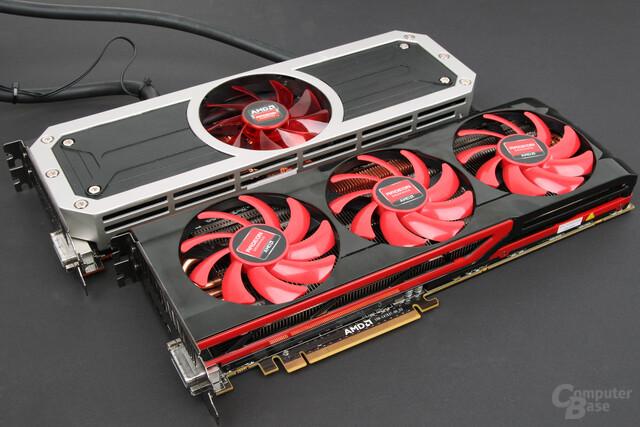Dual-GPU 2013 vs. 2014: AMD Radeon R9 295X2 (oben) vs. Radeon HD 7990