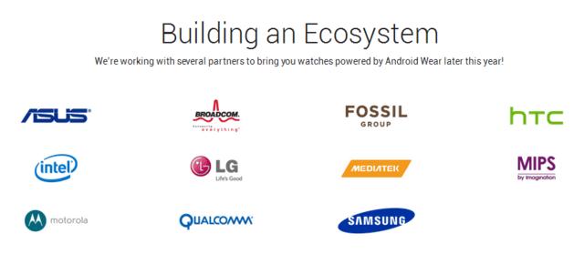 Namhafte Unternehmen unterstützen Android Wear