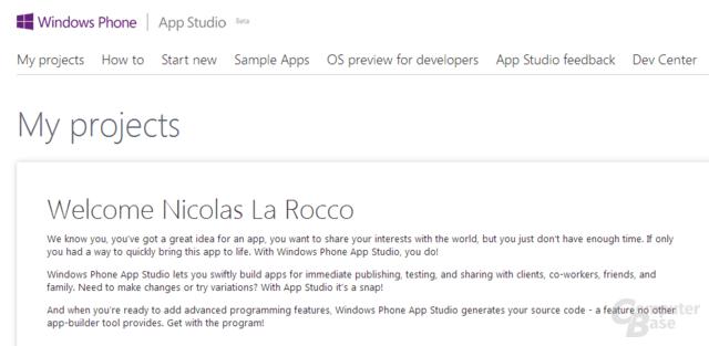 Kostenlose Registrierung für das Windows Phone App Studio erforderlich